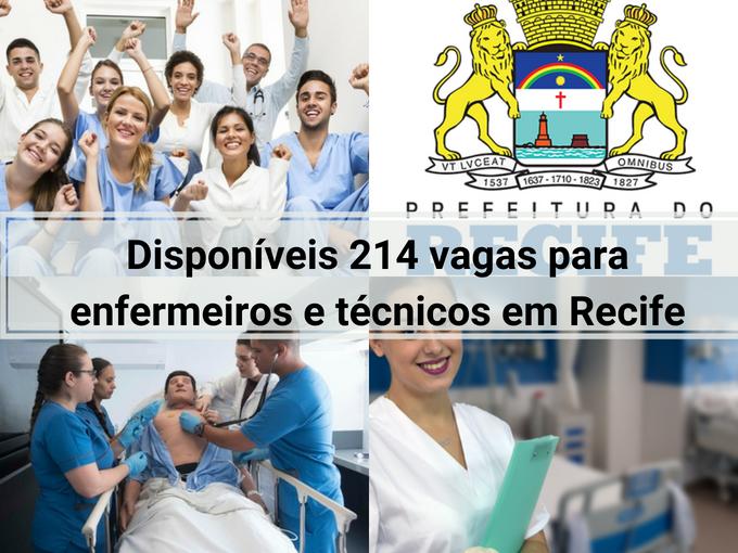214 vagas para enfermeros em Recife