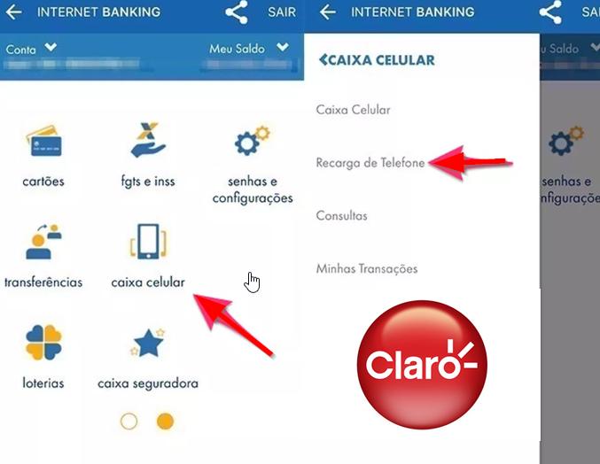 recarregar claro intenet banking