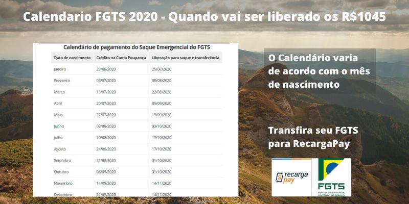 Calendario FGTS 2020 - Quando vai ser liberado os R$1045
