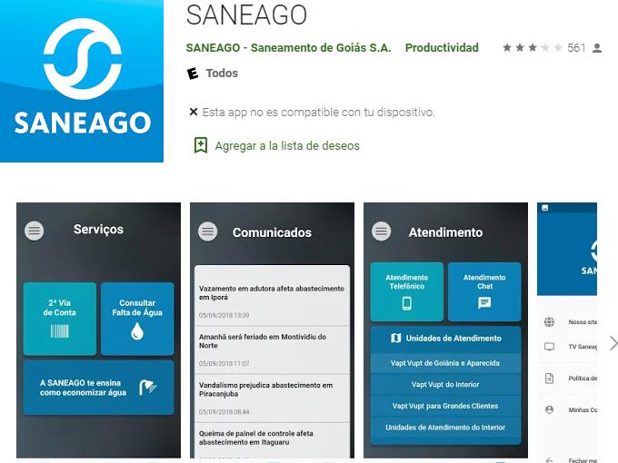 Passos para solicitar Saneago 2 via pelo app