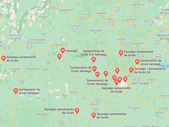 Endereços de escritórios para puxar Saneago 2 via em Goiás