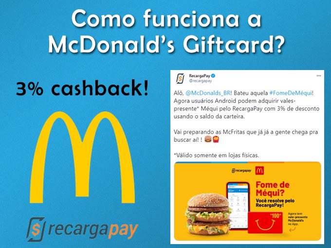 Como funciona a Mcdonalds Giftcard?