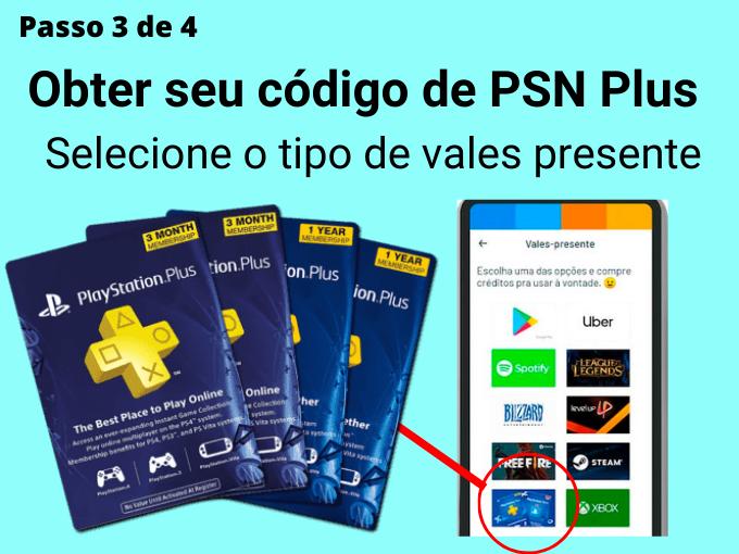 Passo 3 de 4 para Obter seu código de PSN Plus