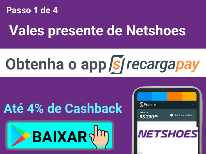 passo 1 de 4 para obter vales presente de Netshoes
